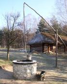 Studnia z żurawiem, służącym do czerpania wody, w tle drewniana chałupa